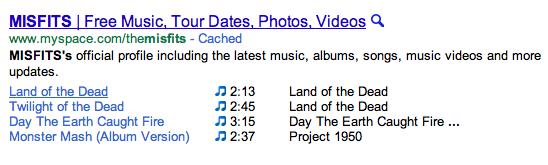 Búsqueda de canciones en Google