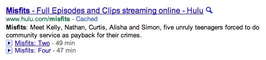 Búsqueda de episodios de TV en Google