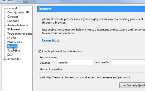 uTorrent preferencias Remote