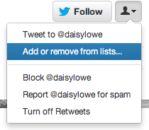 Twitter añadir a lista