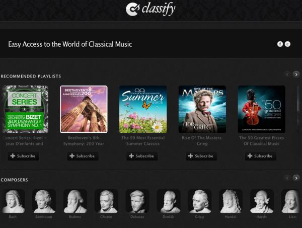 Apoariencia de Classify para Spotify