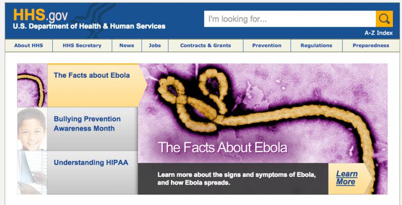 El ébola en la web del ministerio de sanidad